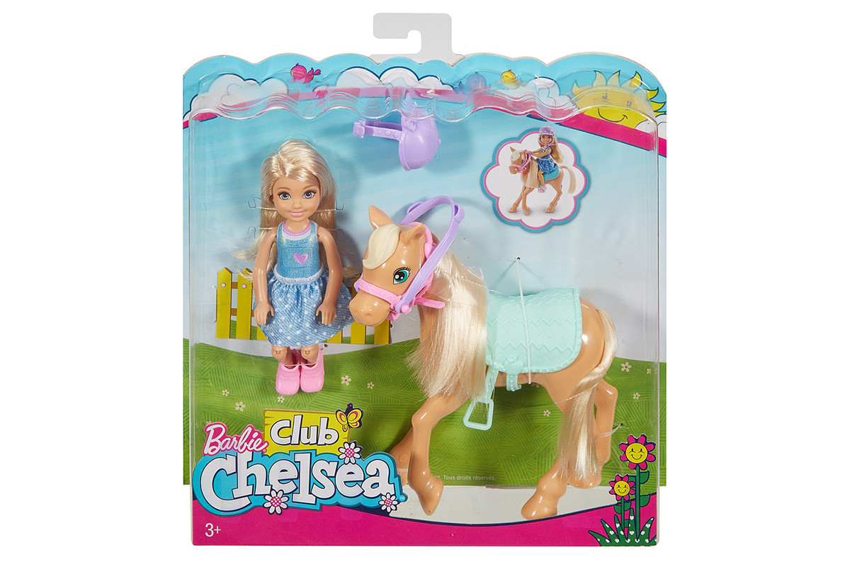 NEW Barbie Horse and Doll Chelsea Club Pony Action Figure Toy Riding Outfit